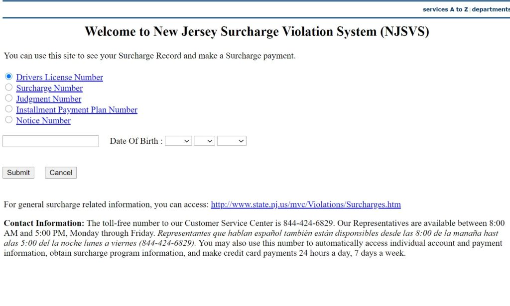 Pay New Jersey Traffic Surcharge Online